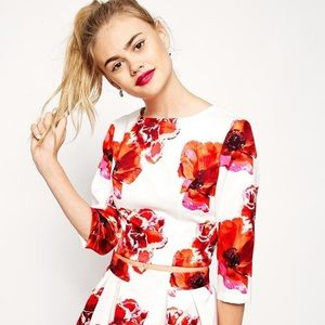 ASOS NWOT Floral Silk Crop Top